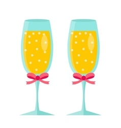 Glasses of champagne icon flat design isolated vector