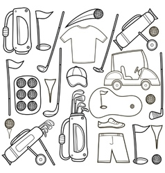 Golf icons set in cartoon style vector