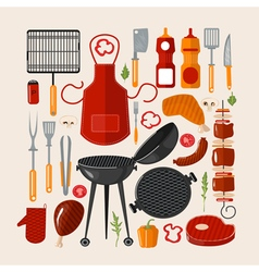 Grill barbecue set of elements grilled food set vector