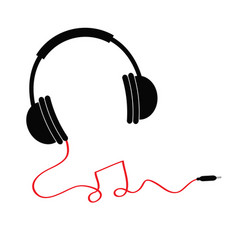 headphones icon with red cord in shape of note vector image vector image