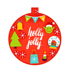 Holly jolly papercut concept vector