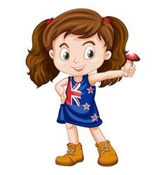 Little girl holding fresh mushroom vector image vector image