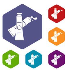 Oil paints icons set hexagon vector