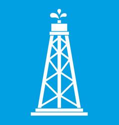 Oil rig icon white vector