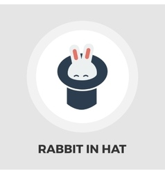 Rabbit in magician hat icon flat vector