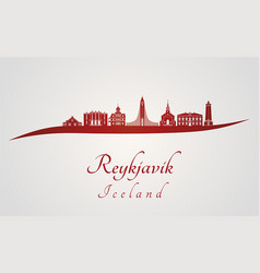 Reykjavik v2 skyline in red vector