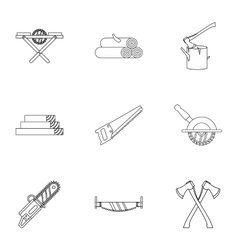 Sawing woods icons set outline style vector image