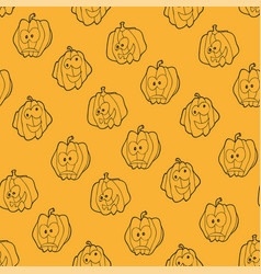 seamless pattern for halloween with pumpkins vector image vector image