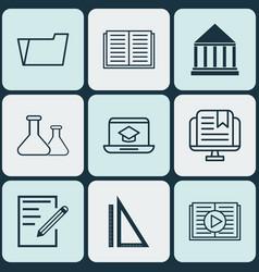 Set of 9 school icons includes measurement e vector