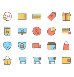 shopping thin line icons set pictograms vector image