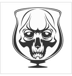 Skull in glass - alcohol addiction vector