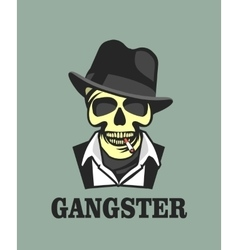 Skull in hat gangster vector image