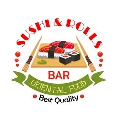 Sushi bar japanese food restaurant sign design vector
