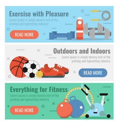 three banners for fitness sport vector image