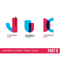 trendy alphabet icon set vector image vector image