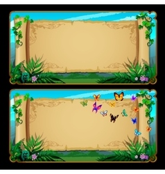 Two banners scrolls of parchment with butterflies vector