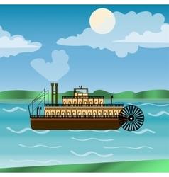 Vintage steamboat sailing down mississippi river vector