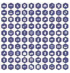 100 different gestures icons hexagon purple vector image vector image