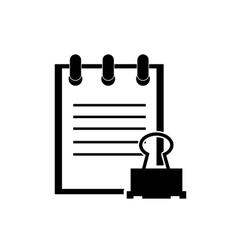 Notepad and clerical pin icon vector