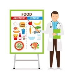 Nutritionist showing poster about food vector image