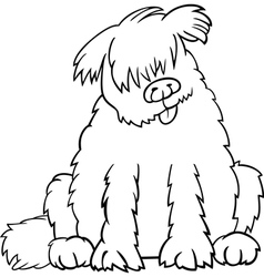Newfoundland dog cartoon for coloring book vector