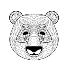 Head of panda in zentangle style freehand sketch vector