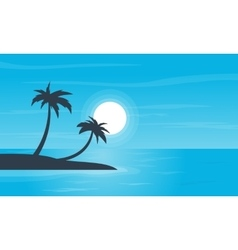 Beach and palm scenery of silhouettes vector image