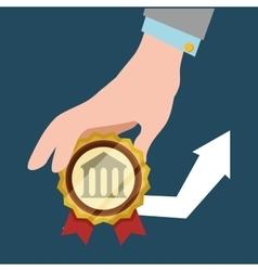 Hand hold bank arrow economic financial badge vector