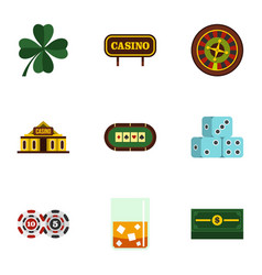 Fortune gambling icons set flat style vector