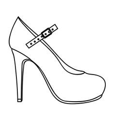 monochrome silhouette of high heel shoe with belt vector image