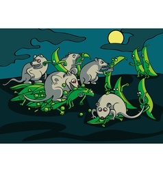 Battle of mice with pea pods in the garden vector