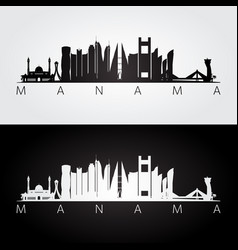 Manama skyline and landmarks silhouette vector