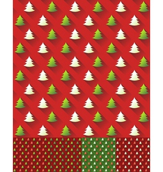 Set of Seamless Christmas Tree Pattern background vector image