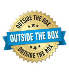 Outside the box round isolated gold badge vector