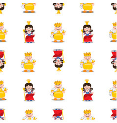 King and queen seamless pattern vector
