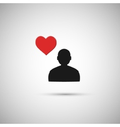Flat icon human heart on a gray background vector