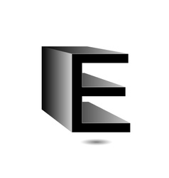 3d alphabet e in grey vector