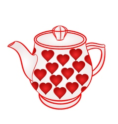 Teapot with red hearts part of porcelain vector