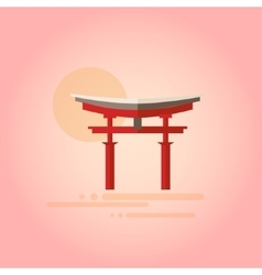 Japanese pagoda in flat design vector