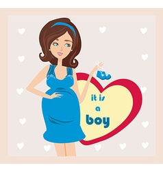Its a boy - pregnant woman card vector