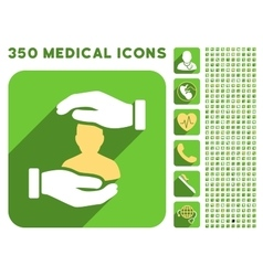 Patient insurance hands icon and medical vector