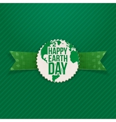 Happy earth day holiday banner and green ribbon vector