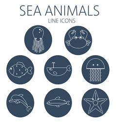 Black sea animal set in outlines vector