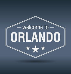 Welcome to orlando hexagonal white vintage label vector