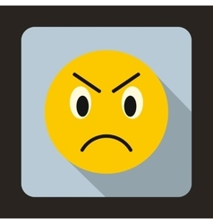 Annoyed emoticon icon flat style vector