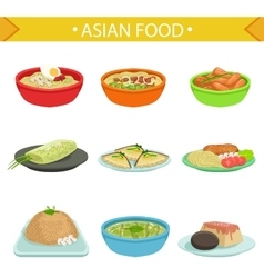 Asian food famous dishes set vector