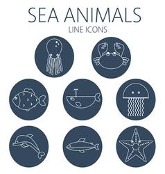 Black sea animal set in outlines vector image