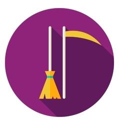 Broom and scythe circle icon vector