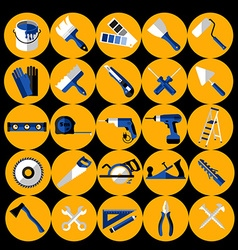 Buildings tools icons set Flat design symbols vector image