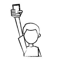 Character man holding cellphone in hand sketch vector